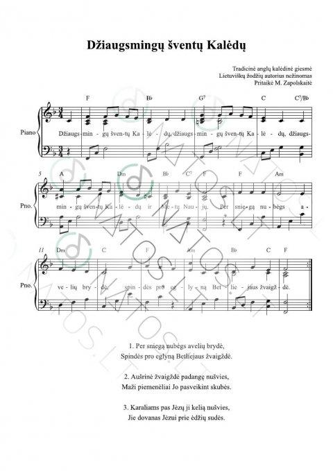 Džiaugsmingų šventų kalėdų - PVG Fortepijonas, Balsas, Gitara