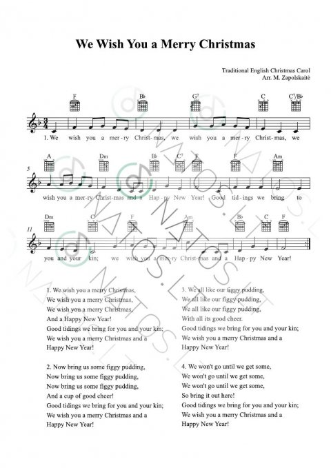 We wish you a Merry Christmas - TAB with chord symbols
