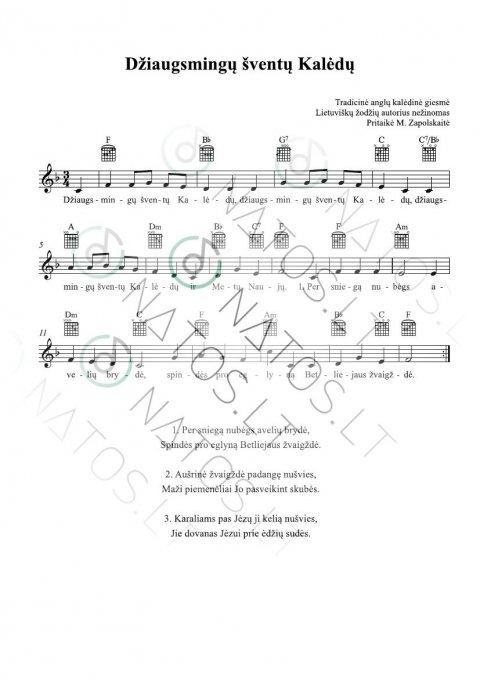 Džiaugsmingų šventų kalėdų - TAB su akordų simboliais