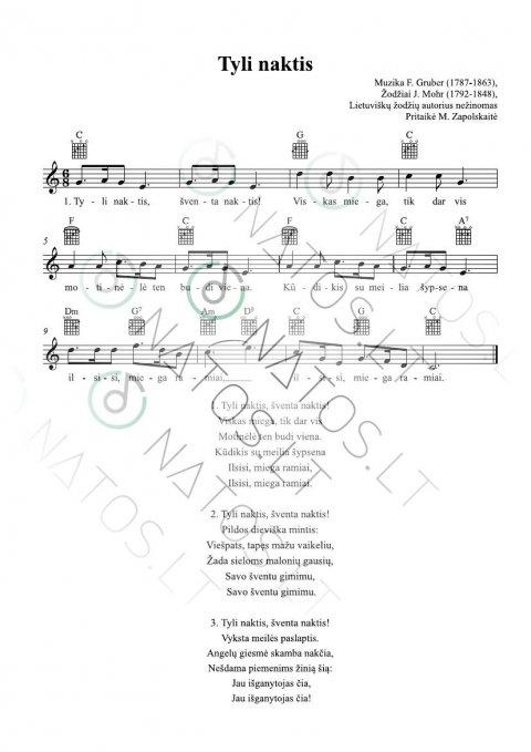 Tyli naktis - TAB su akordų simboliais